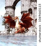 3d fantasy dragon in mythical... | Shutterstock . vector #1069660115