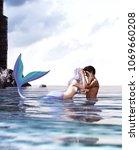 a sea love story between man... | Shutterstock . vector #1069660208