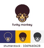 funky monkey logo template. | Shutterstock .eps vector #1069660628