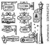 vintage street lanterns labels...   Shutterstock .eps vector #1069661912
