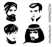 black set of portraits of men... | Shutterstock .eps vector #1069662236