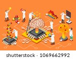 brain with chip  artificial... | Shutterstock .eps vector #1069662992