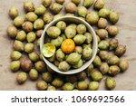ceylon oak on wooden table... | Shutterstock . vector #1069692566