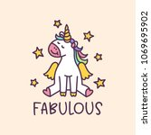 unicorn cute cartoon drawing... | Shutterstock .eps vector #1069695902