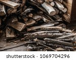 firewood for the winter  stacks ... | Shutterstock . vector #1069704296