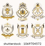 set of vector retro vintage... | Shutterstock .eps vector #1069704572