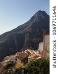 Small photo of Vertical glimpse of the characteristic Mediterranean village of Albori ,along the famous Amalfi coast, in southern Italy.