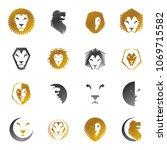 brave lion king faces emblems... | Shutterstock .eps vector #1069715582