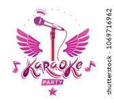 karaoke party invitation poster ...   Shutterstock .eps vector #1069716962