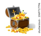 old pirate chest full of... | Shutterstock .eps vector #1069717796