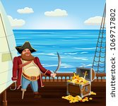 old pirate with one leg and...   Shutterstock .eps vector #1069717802