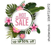 sale summer banner  poster with ... | Shutterstock .eps vector #1069721972