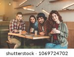 enjoying time with best friends.... | Shutterstock . vector #1069724702