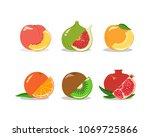 vector set of delicious fruits. ...   Shutterstock .eps vector #1069725866