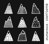 hand drawn mountains set.... | Shutterstock .eps vector #1069726958
