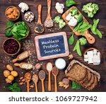 vegan protein sources. top view ... | Shutterstock . vector #1069727942