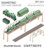 3d isometric retro railway with ... | Shutterstock .eps vector #1069738295
