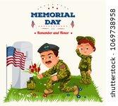 memorial day  man with children ... | Shutterstock .eps vector #1069738958