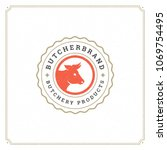 butcher shop logo vector... | Shutterstock .eps vector #1069754495