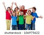 group of happy children with... | Shutterstock . vector #106975622