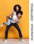 full length portrait of a happy ... | Shutterstock . vector #1069758416