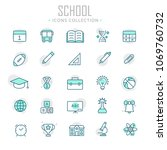 collection of school thin line... | Shutterstock .eps vector #1069760732