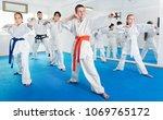 children trying new martial... | Shutterstock . vector #1069765172