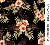 tropical seamless pattern with... | Shutterstock . vector #1069769108