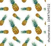 watercolor tropical seamless... | Shutterstock . vector #1069769522