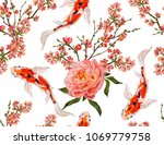 seamless vector floral pattern... | Shutterstock .eps vector #1069779758