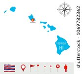 hawaii vector map isolated on... | Shutterstock .eps vector #1069782362