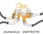Stock vector four hands holding four beer bottles clinking glasses in plaid shirt party celebration in a pub 1069783745