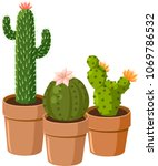 blooming spiny green cactus...   Shutterstock .eps vector #1069786532