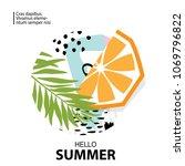 trendy tropic and orange... | Shutterstock .eps vector #1069796822