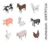 farm animals 3d icons set...   Shutterstock .eps vector #1069797116