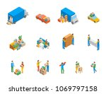 relocation service 3d icons set ... | Shutterstock .eps vector #1069797158