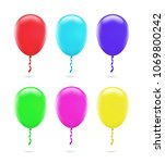 set of colorful balloons on... | Shutterstock .eps vector #1069800242
