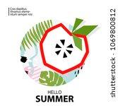 trendy tropic and apple... | Shutterstock .eps vector #1069800812