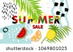 trendy tropic and fruit ... | Shutterstock .eps vector #1069801025