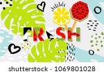 trendy tropic and fruit ice...   Shutterstock .eps vector #1069801028