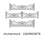 decorative forged fence | Shutterstock .eps vector #1069803878