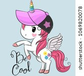 cute cartoon cool unicorn with... | Shutterstock .eps vector #1069820078