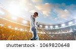 cricket player on a... | Shutterstock . vector #1069820648