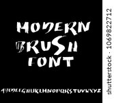 handdrawn dry brush font.... | Shutterstock .eps vector #1069822712