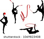 rhythmic gymnastics silhouettes ... | Shutterstock .eps vector #1069823408