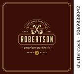 restaurant logo template vector ... | Shutterstock .eps vector #1069838042