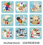 education icons   school... | Shutterstock .eps vector #1069838348