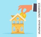 home loan vector. cartoon.... | Shutterstock .eps vector #1069839215