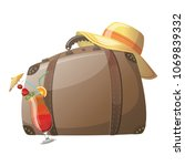a cartoon suitcase for rest.... | Shutterstock .eps vector #1069839332