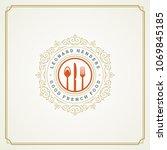 restaurant logo template vector ... | Shutterstock .eps vector #1069845185